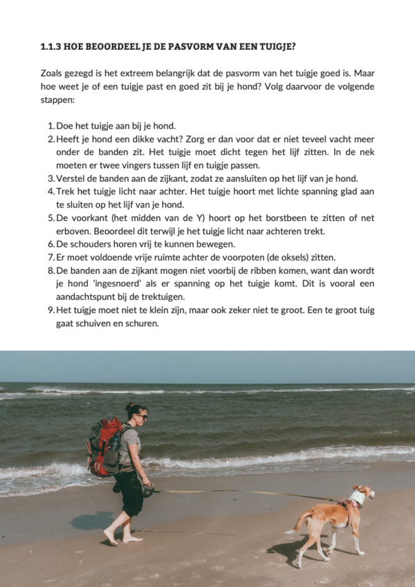 Handboek Backpacken met je hond pasvorm tuigje
