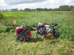 Hond Chica op fietsvakantie